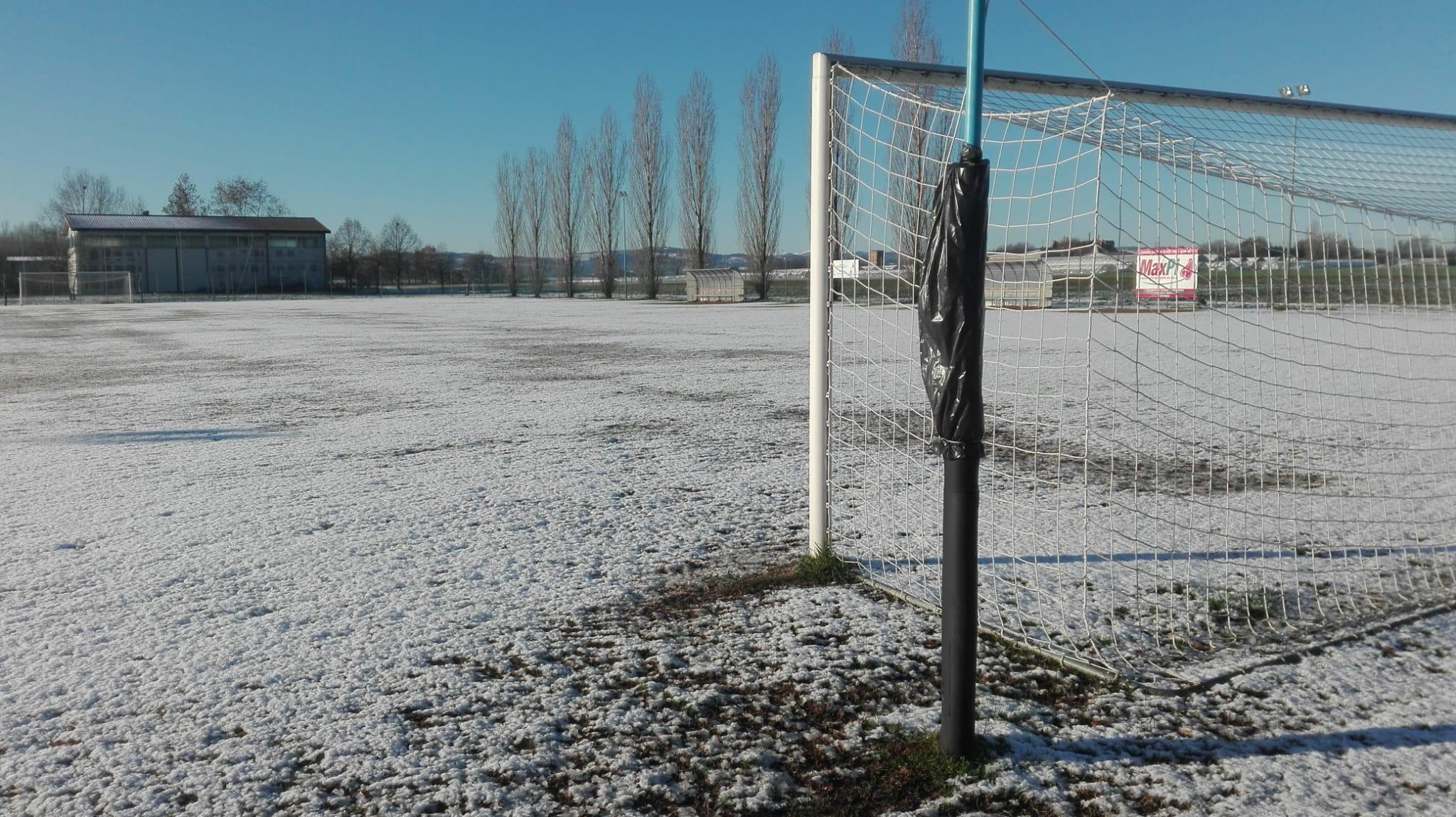 Il campo di Prunaro di Budrio sabato scorso. La partita dei Giovanissimi 2005 Elite si recupererà sabato 4 gennaio 2020.